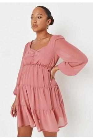 Missguided Mauve Milkmaid Maternity Mini Dress