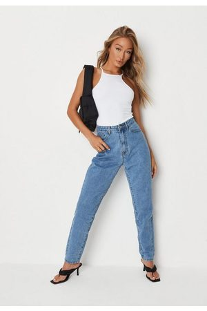 Missguided Women High Waisted - Light High Waisted Clean Mom Jeans