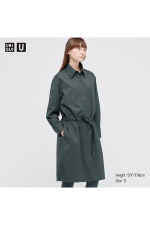 UNIQLO Women's U Drawstring Long-Sleeve Shirt Dress, Green, XXS