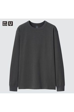 UNIQLO Men's U HEATTECH Cotton Crew Neck Long-Sleeve T-Shirt, Gray, XXS