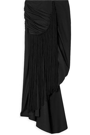 Tory Burch Fringed Ruched Asymmetric Skirt