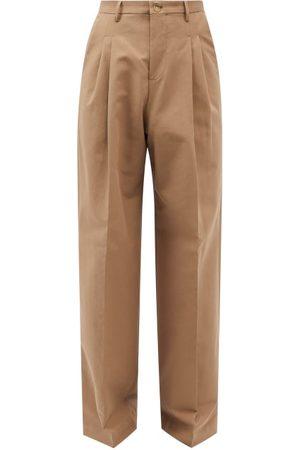 Umit Benan B+ Men Wide Leg Pants - Pleated Cotton-blend Hopsack Wide-leg Trousers - Mens
