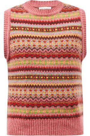 Molly Goddard Men Tank Tops - Lennon Fair Isle Wool Sleeveless Sweater - Mens - Multi