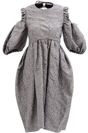 Cecilie Bahnsen Eero Ruched-cutout Flecked-matelassé Dress - Womens - Grey