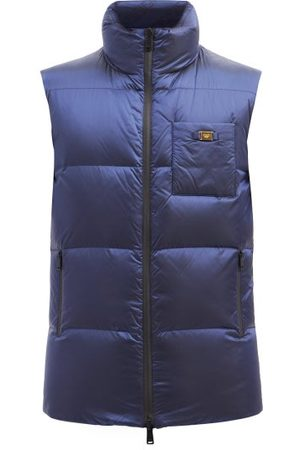 Fendi Reversible Ff-print High-neck Quilted Down Gilet - Mens - Navy
