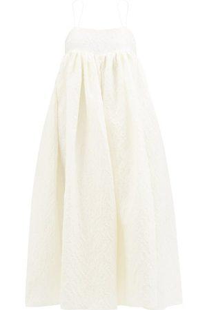 Cecilie Bahnsen Beth Linen-blend Plissé Dress - Womens - Ivory