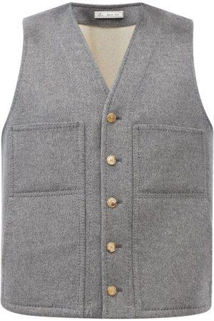 Umit Benan B+ Men Gilets - Patch-pocket Felted Wool-blend Gilet - Mens - Dark Grey