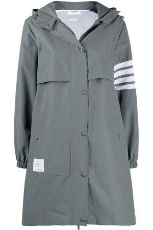 Thom Browne Women Trench Coats - 4-Bar Stripe hooded raincoat - Grey