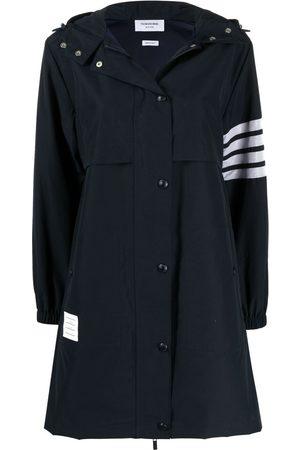 Thom Browne Women Rainwear - 4-Bar Stripe hooded raincoat