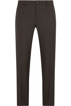 Dolce & Gabbana Men Formal Pants - Tailored wool check trousers - Grey
