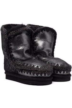 Mou Girls Snow Boots - Metallic Eskimo shearling boots