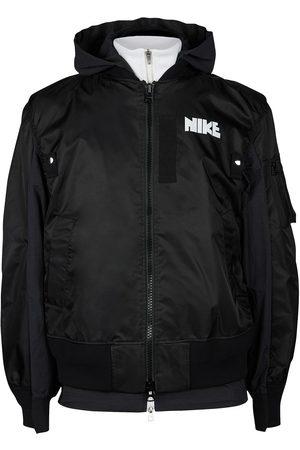 Nike X sacai logo-print layered bomber jacket