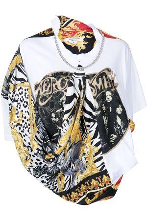 JUNYA WATANABE Scarf-detail cotton T-shirt - Multicolour