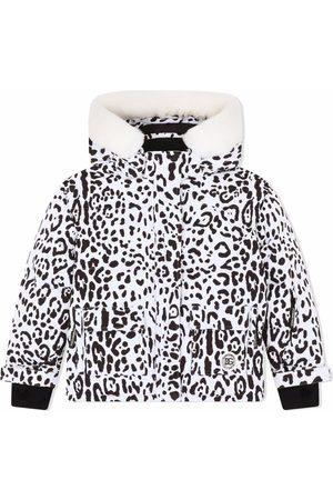 Dolce & Gabbana Boys Puffer Jackets - Leopard-print hooded coat
