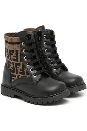 Fendi Boys Boots - FF motif lace-up boots