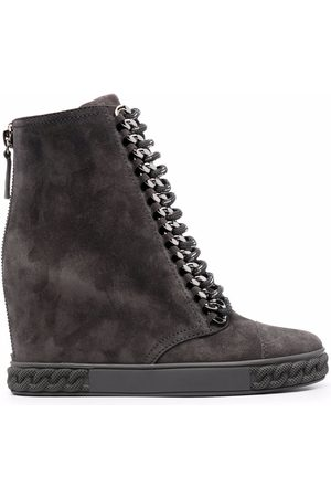 Casadei Suede wedge sneaker boots - Grey