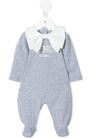 Fendi Embroidered-logo cotton pyjamas - Grey