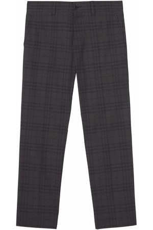 Burberry Men Formal Pants - Check-pattern tailored trousers - Grey
