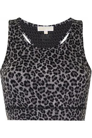 Michael Kors Women Sports Bras - Leopard-print sports bra - Grey