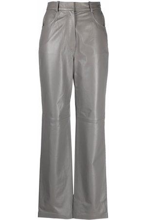 12 STOREEZ Straight-leg leather trousers - Grey