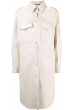 12 STOREEZ Women Casual Dresses - Leather shirt dress - Neutrals