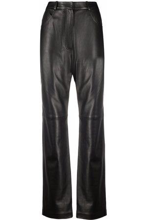 12 STOREEZ Women Leather Pants - Straight leg leather trousers
