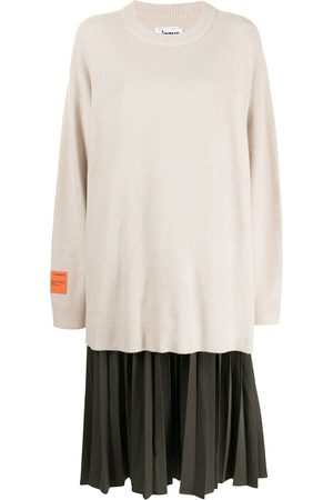 Izzue Women Casual Dresses - Two-tone pleated sweater dress