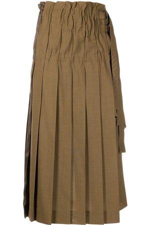 SACAI Women Pleated Skirts - High-waist asymmetrical pleat skirt