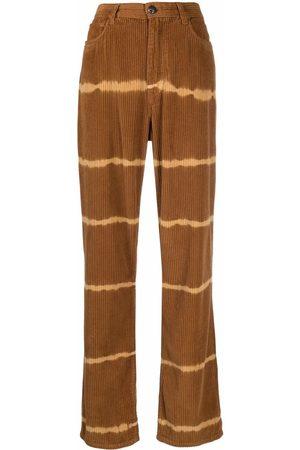 Etro Women Straight Leg Pants - Tie-dye corduroy straight-leg trousers
