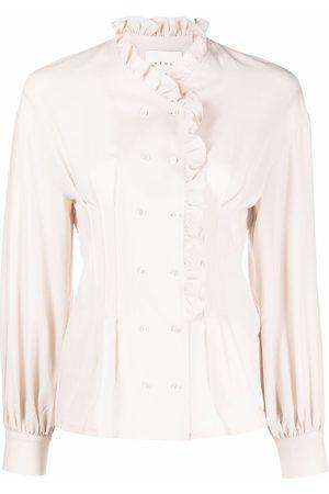NEUL Ruffled-neck pleated blouse - Neutrals