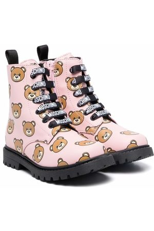 Moschino Teddy print lace-up boots