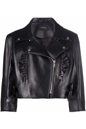 Simone Rocha Women Leather Jackets - Ruched-detailed cropped leather jacket