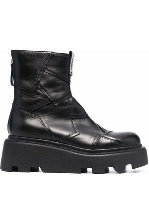 Premiata Women Heeled Boots - Patchwork-detail platform boots