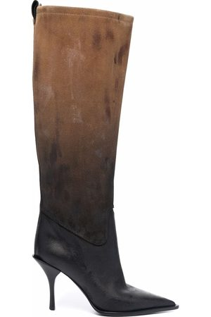Premiata Women Boots - Two-tone pointed leather boots - Neutrals
