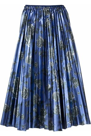 RED Valentino Women Printed Skirts - Metallic pleated floral-print skirt