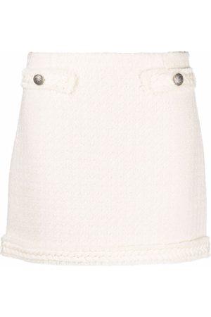 BLUMARINE Women Mini Skirts - Bouclé woven-trim mini skirt