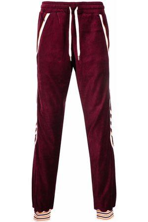 Casablanca Men Sweatpants - Stripe-cuff velour track pants