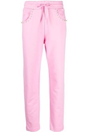 Love Moschino Pearl-studded flake track pants