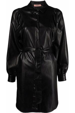 Twin-Set Faux leather shirt dress