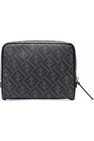 Fendi Monogram-print leather wash bag - Grey
