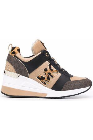 Michael Kors Georgie panelled wedge sneakers - Neutrals
