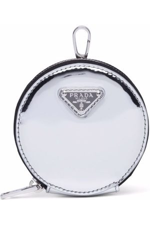 Prada Brushed-leather round mini-pouch