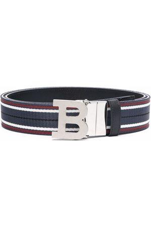 Bally B-buckle striped belt