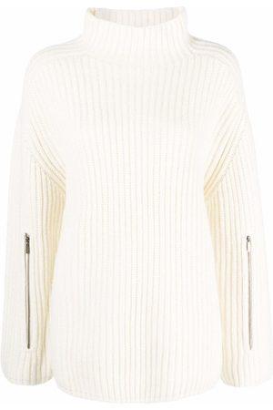 Michael Kors Ribbed-knit zip-detailed jumper - Neutrals