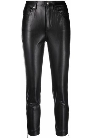 Michael Kors Women Leather Pants - Faux-leather zip-detailed trousers