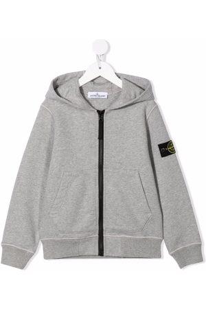 Stone Island Logo patch zip hoodie - Grey