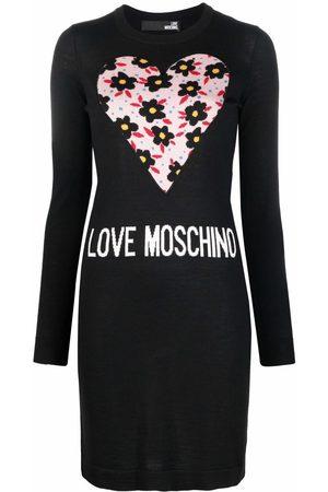 Love Moschino Women Casual Dresses - Floral heart logo jumper dress