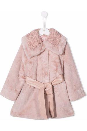 MONNALISA Girls Coats - Spread-collar tie-waist faux-fur coat