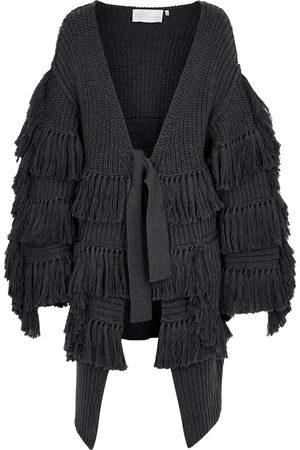 OSMAN Women Cardigans - Ono grey tasselled wool cardigan