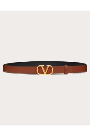 VALENTINO GARAVANI Women Belts - Reversible Vlogo Signature Belt In Glossy Calfskin 20mm Women Saddle 100% Pelle Di Vitello - Bos Taurus 100